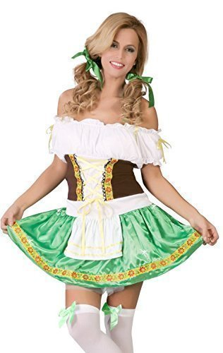 Ladies Sexy Green Oktoberfest German Swedish Beer Girl Hiedi Gretal Fancy Dress Costume Outfit UK 12-14