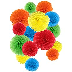 Tissue Paper Pom Poms Rainbow Paper Flowers For Party Decorations - 15 Pcs of 8,10,14 Inch