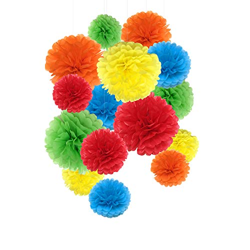 Paper Pom Poms Paper Flowers for Wedding Decor - Birthday Celebration - Wedding Party and Outdoor Decoration - 15 Pcs of 8,10,14 Inch (Rainbow) -