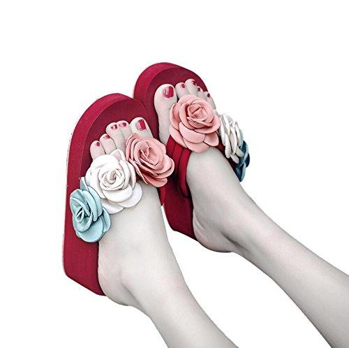 KHSKX-Rosa 6 Cm Strand Schuhe Hausschuhe Sommer Mädchen Mode Durch Die Koreanische Version Des Wilden Feld Ziehen Sie Die Neue Dick Mit Kälte Auf Der Piste Und Das Meer 41 Tropfen