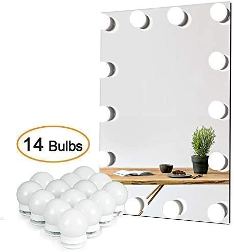 Waneway Vanity Lights for Mirror, DIY Hollywood Lighted Makeup Vanity Mirror with Dimmable Lights, Stick on LED Mirror Light Kit for Vanity Set, Plug in Makeup Light for Bathroom Wall Mirror, 14-Bulb