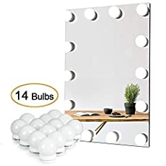 Description: This Hollywood style vanity light kit features 14 LED bulbs, which produce bright white lights and a soft glow through the frosted globes to illuminate your entire face, no matter how dim the environment.  With the supplied doubl...