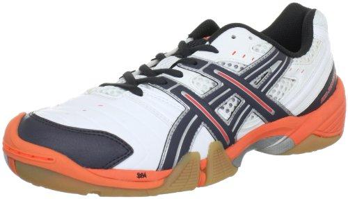 (ASICS Womens Gel-DOMAIN Handball Shoes White Weiß (White/Titanium/Neon Orange 197) Size: 6 (40 EU))