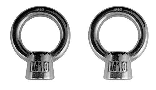 2 Pieces Stainless Steel 316 Lifting Eye Nut M10 Marine Grade (Marine Nuts)