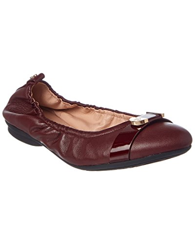 Taryn Rose Women's Abriana Nappa/Soft Patent Ballet Flat, Wine/Wine, 7 M Medium US by Taryn Rose