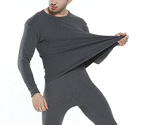 GOZAR Men'S Ultra-Soft Thin Section Of The Young Self-Cultivation Cotton Thermal Underwear & Bottom Underwear Set-Dark Gray-L