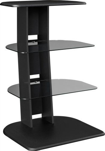 Altra Galaxy Audio Stand with Glass Shelves, Black - Audio Entertainment Stand
