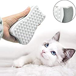 CELEMOON [Soft Silicone Pins] Ultra-Soft Silicone Washable Cat Grooming Shedding Massage/Bath Brush - Safe & No Scratching Any More (White)