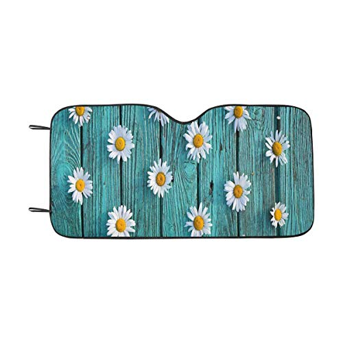 (INTERESTPRINT White Wildflowers Daisies on Antique Turquoise Front Windshield Sun Shades, Accordion Folding Auto Sunshades for Car Truck SUV )