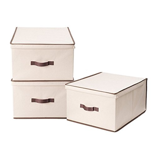 StorageManiac 3-Pack Jumbo Foldable Polyester Canvas Storage Box, Convenient Storage Bin with Lid (3 Canvas Storage Boxes)