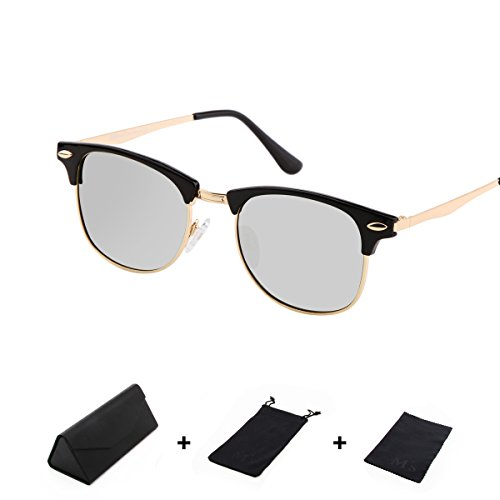 Ms Polarized Clubmaster Classic Half Frame Semi-Rimless Rimmed Sunglasses Fashion classics (Black, white - M&s Sunglasses