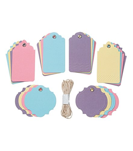 Dinations Cardstock (Pastel Assorted Tags Etiquettes Assortment by Core'dinations for Gift Tags, Scrapbooks, Set of 24 Tags)