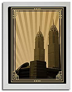 Al Kazim Towers Metro - Sepia With Gold Border No Text F03-m (a2) - Framed