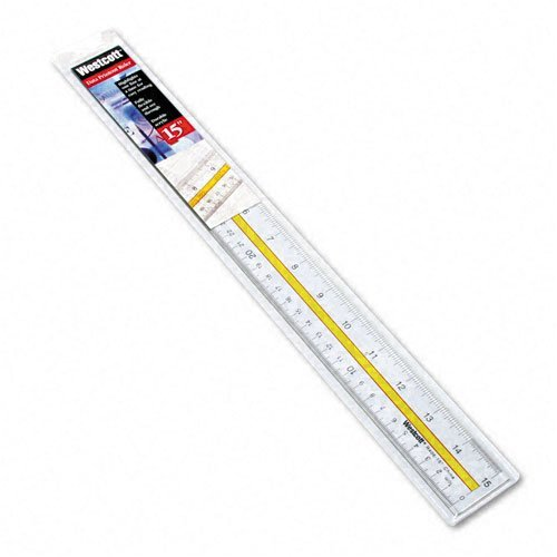 Westcott : Highlighting Data Beveled Plastic Ruler, 15, Clear/Yellow Panel -:- Sold as 2 Packs of - 1 - / - Total of 2 Each by (Highlighting Data Ruler)