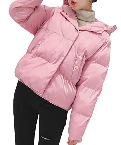Rosa Breve Allentata Mini Velluto Donne Xinheo Con Cappuccio Zip Tasche Casuale Con Piumino x7OqC0