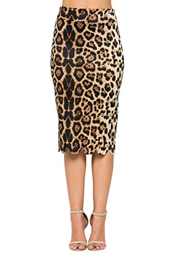 Junky Closet Women's Scallops Knee Length High Waisted Pencil Skirt (Made in USA) (3X-Large, 3635GRAP Animal)