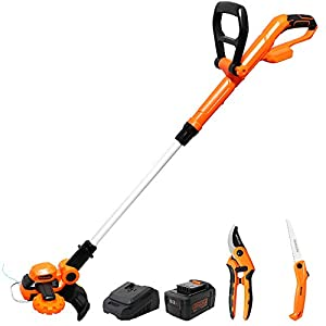 20V Cordless Hedge Trimmer Electric – with 4.0Ah Li-Ion Battery & 1 Hour Quick Charger, 3 in 1 Set – Pruning Saw & Tree…