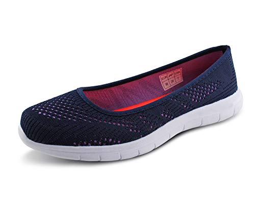 Jabasic Women Slip On Loafers Breathable Knit Flat Walking Shoes (Blue/Purple,9)