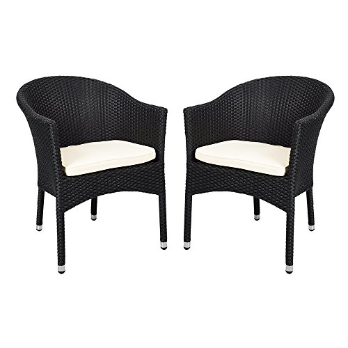 Outdoor Rattan Chairs Patio Garden Furniture with Seat Cushions,Weave Wicker Armchair (Black) ()