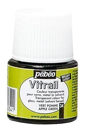 Pebeo Vitrail efecto cristal satinado pintura para cristal (45 ml, Apple verde, Apple verde by PEBEO: Amazon.es: Hogar