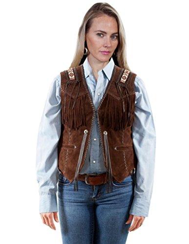 Scully Women's Leatherwear by Boar Suede Beaded Fringe Vest Brown X-Large