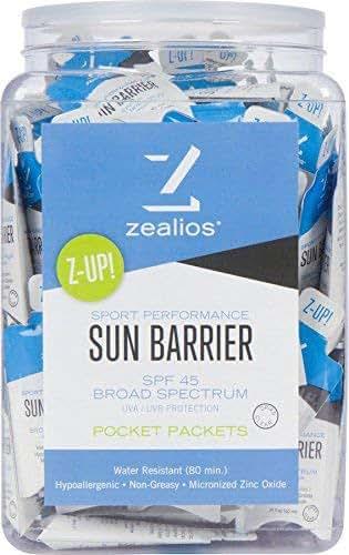Zealios Sun Barrier (100 Single Use Packs) - SPF 45 Water-Resistant Zinc Sunscreen - Active Sport Sunblock