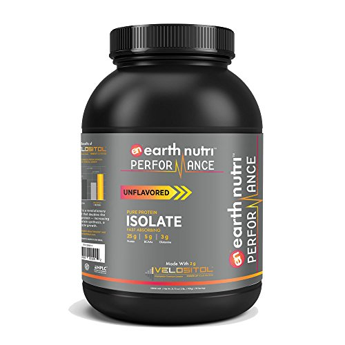 EarthNutri Performance Pure Whey Protein Isolate Powder with 2g of Velositol, 25g of Protein, 5g of BCAAs, 3g of Glutamine Precursor, No Whey Concentrate, No Proprietary Blends, 2lb. Tub (Unflavored)