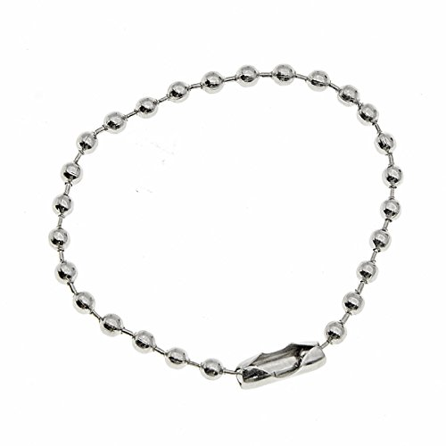 Saim 100Pcs Connector Clasp Ball Chains Keychain Tag Dull Silver Tone