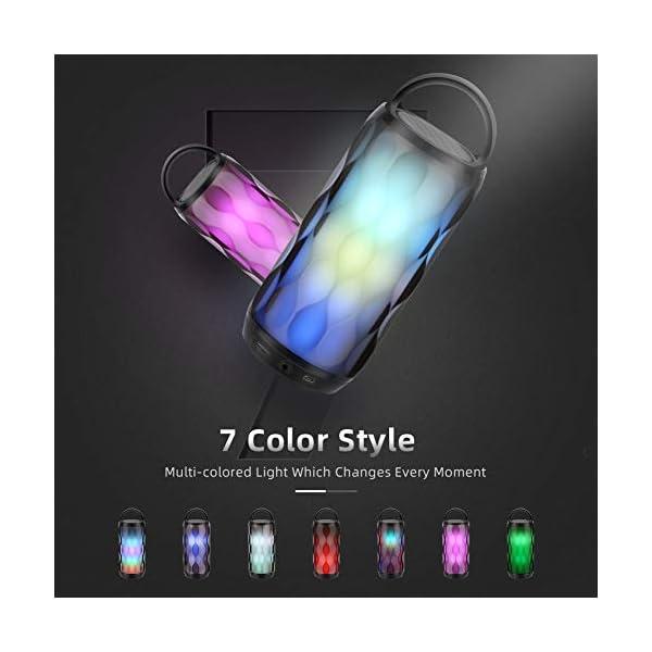 Enceinte Bluetooth Portable Haut-Parleur Bluetooth sans Fil avec 7 Modes LED Lumière AUX/SD/TF Microphone Intégré MUBYTREE 3