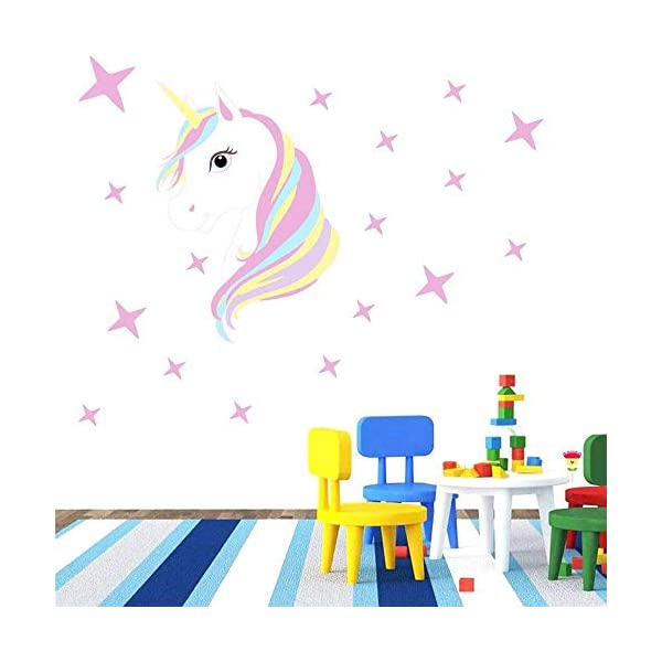 KUYUE Wall Decals Removable Unicorn Wall Stickers for Girls Decorations Bedroom Living Room Playroom Classroom 8