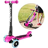 Banne Scooter Height Adjustable Lean to Steer Flashing PU Wheels 3 Wheel Kick Scooters for Kids Boys Girls (Pink)