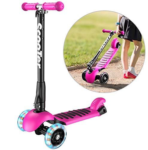 (Banne Scooter Height Adjustable Lean to Steer Flashing PU Wheels 3 Wheel Kick Scooters for Kids Boys Girls (Pink))