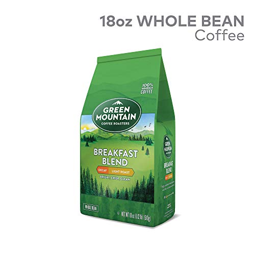 Green Mountain Roasters Breakfast Blend Decaf Whole Bean Bagged Coffee, Light Roast, 18 oz