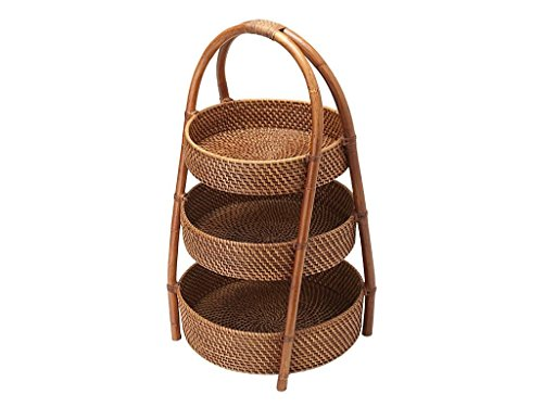 "KOUBOO 1020020 Rattan 3-Tier Basket, 16"" x 16"" x 25.5"", Honey Brown"