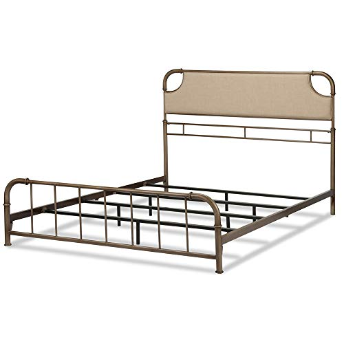Leggett & Platt Dahlia Metal SNAP Bed with Folding Frame Bedding Support System and Sandstone Upholstered Headboard, Aged Iron Finish, King