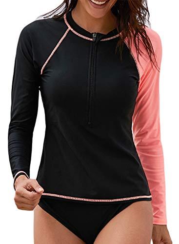 - Aleumdr Womens Summer Rashguard Shirt Long Raglan Sleeve Zip Front Surf Shirt Black Small 4 6