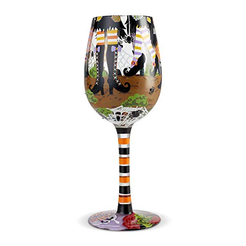 Enesco 6004429 Designs by Lolita Which Shoes Hand-Painted Artisan Wine Glass 15 Ounce Multicolor -