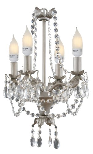 Creative Motion Mini Chandelier without CFL Bulbs, 14.4-Inch, Silver