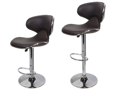 TMS 2 pcs Swivel Elegant Synthetic Leather Modern Adjustable Bar Stool Chair Barstool (Coffee Brown)