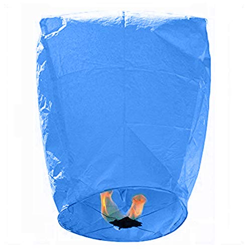Nuluphu Sky Lanterns 10 Pack -100% Biodegradable (Blue)