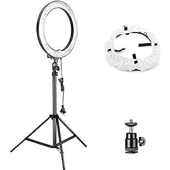 Neewer Camera Photo Studio YouTube Vine Video Lightning Kit: 18 inches/46 centimeters 75W Dimmable Ring Light,75 inches/190 centimeters Light Stand, Diffuser Soft Box, Ball Head Hot Shoe Adapter