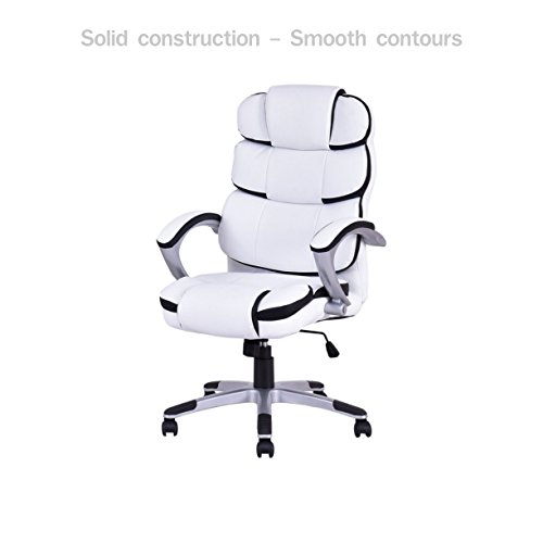 Modern Executive Office Chair High Back Design Smooth Adjustable Height Heavily Padded Headrest PU Leather Upholstery Posture Support Flexible 360° Rotatable Wheels Home Office Furniture #1703wh