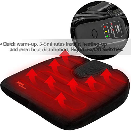 Sojoy Auto Drivers Wedge | Breathable Orthopedic Memory Foam | Coccyx Support for Back, Hip and Leg Pain | 12V Car Seat Heated Cushion with Smart Multifunctional High/Low/Temp Switch & Timer (Black) (Heating Pad For Cigarette Lighter)