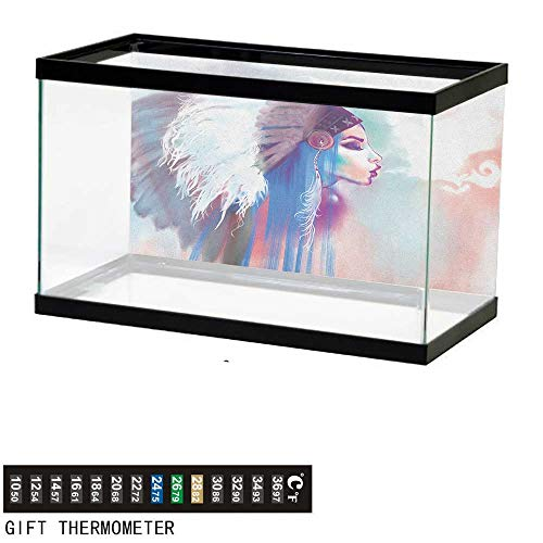 Native AmericanFish Tank BackdropGirl Smoking Pipe with Traditional Clothes Abstract Watercolor Background48 L X 24
