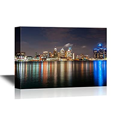 USA City Skyline Canvas Wall Art - The Skyline of Detroit Michigan at Night Time - Gallery Wrap Modern Home Art | Ready to Hang - 32x48 inches