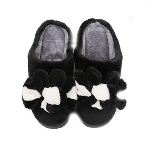 Ciabatte Invernali Da Donna Giy Da Donna, Pantofole Peluche Da Interno Simpatico Cartone Animato, Pantofole Antiscivolo In Cotone Nero