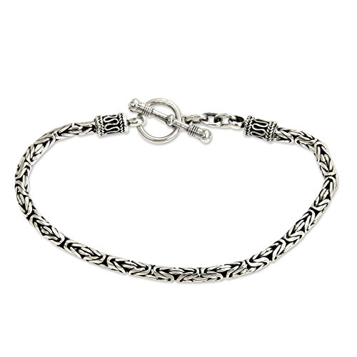 NOVICA Borobudur Style .925 Sterling Silver Chain Bracelet 'Balinese Grace', - Silver Balinese Bracelet