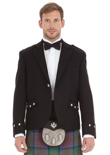 Mens Scottish Black Argyll Kilt Jacket 46 Long