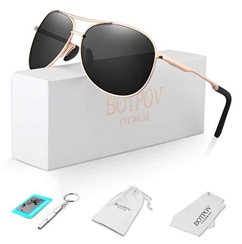 Polarized Aviator Sunglasses for Men and Women-100 Uv, Black, Size One ()