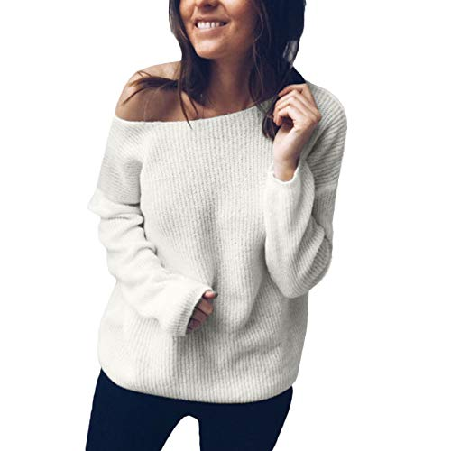 (Celiy Women's Off Shoulder Button Reversible Cardigan Knit Jumper Long Sleeve Pullover Baggy Solid Sweater)